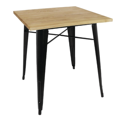 Bolero Black Square Steel Bistro Table with Wooden Top 700mm avis, opinions et commentaires